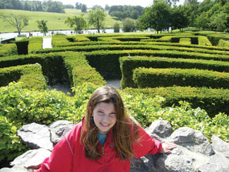 Brooke wandering the maze at Leeds Castle